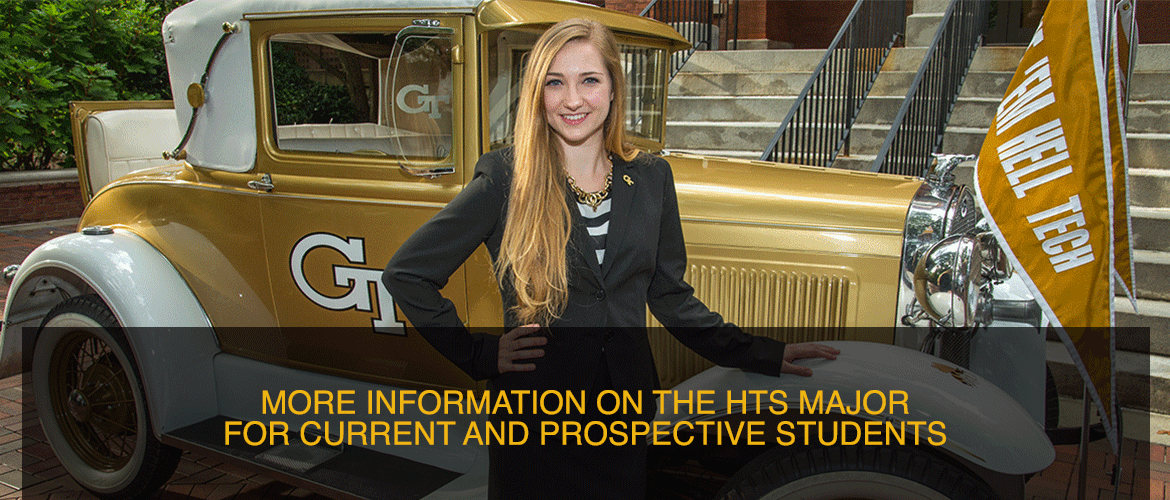 Image of a student standing in front of the Ramblin' Wreck, linking to more information on the HTS major for current and prospective students